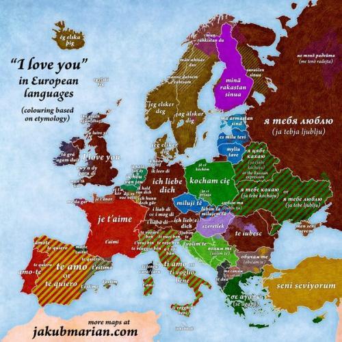"""Я тебя люблю на европейских языках. """"Я люблю тебя' на европейских языках"""