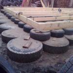 Как сделать фундамент из покрышек.