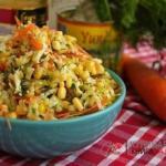 Салат с капустой, кукурузой и без майонеза!