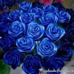 Букет синих роз из атласных лент своими руками.